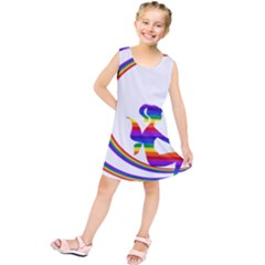 Rainbow Fairy Relaxing On The Rainbow Crescent Moon Kids  Tunic Dress