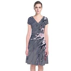 Big Bang Short Sleeve Front Wrap Dress