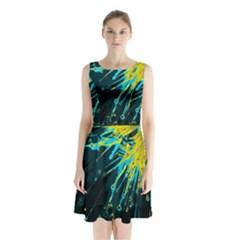 Big Bang Sleeveless Waist Tie Chiffon Dress