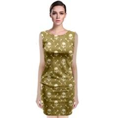 Skull Pattern 1 Sleeveless Velvet Midi Dress