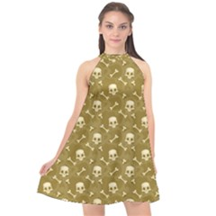 Skull Pattern 1 Halter Neckline Chiffon Dress