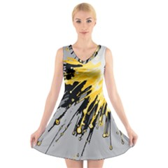 Big Bang V Neck Sleeveless Skater Dress