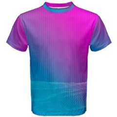 With Wireframe Terrain Modeling Fabric Wave Chevron Waves Pink Blue Men s Cotton Tee