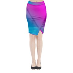 With Wireframe Terrain Modeling Fabric Wave Chevron Waves Pink Blue Midi Wrap Pencil Skirt