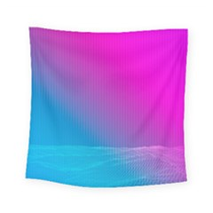 With Wireframe Terrain Modeling Fabric Wave Chevron Waves Pink Blue Square Tapestry (small)