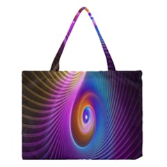 Abstract Fractal Bright Hole Wave Chevron Gold Purple Blue Green Medium Tote Bag