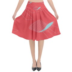 Chairs Wicker Cafe Party Comfortable Red Blue Flared Midi Skirt