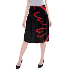 Dove Red Black Fly Animals Bird Midi Beach Skirt