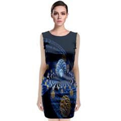Fractal Balls Flying Ultra Space Circle Round Line Light Blue Sky Gold Classic Sleeveless Midi Dress