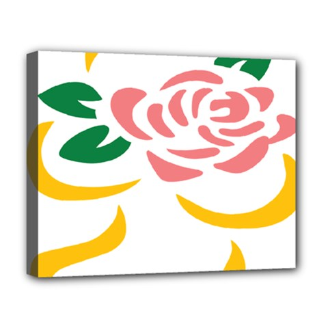 Pink Rose Ribbon Bouquet Green Yellow Flower Floral Deluxe Canvas 20  x 16