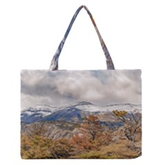 Forest And Snowy Mountains, Patagonia, Argentina Medium Zipper Tote Bag