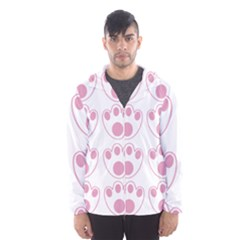 Rabbit Feet Paw Pink Foot Animals Hooded Wind Breaker (men)