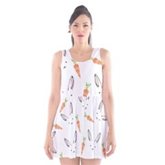 Rabbit Carrot Pattern Weft Step Face Scoop Neck Skater Dress