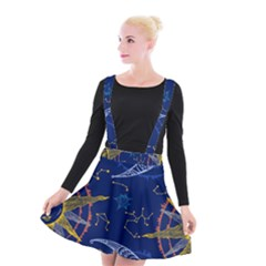 Sun Moon Seamless Star Blue Sky Space Face Circle Suspender Skater Skirt