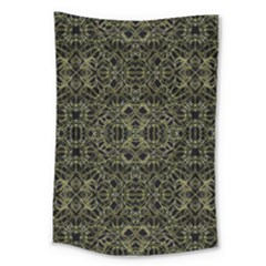 Golden Geo Tribal Pattern Large Tapestry