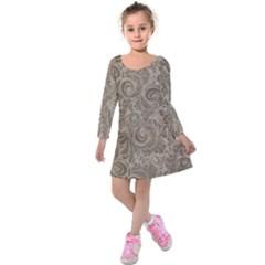Brown Romantic Flower Pattern Kids  Long Sleeve Velvet Dress