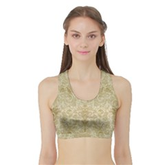Gold Romantic Flower Pattern Sports Bra With Border