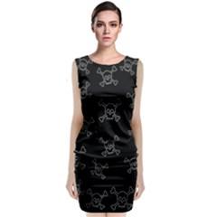 Skull Pattern Sleeveless Velvet Midi Dress