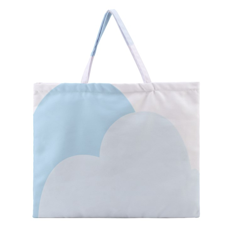 Cloud Sky Blue Decorative Symbol Zipper Large Tote Bag