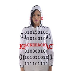 Binary Black Cyber Data Digits Hooded Wind Breaker (women)
