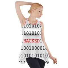 Binary Black Cyber Data Digits Side Drop Tank Tunic