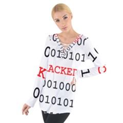 Binary Black Cyber Data Digits Women s Tie Up Tee