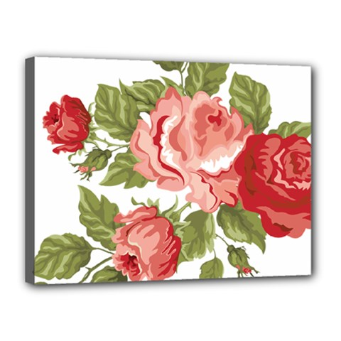 Flower Rose Pink Red Romantic Canvas 16  x 12