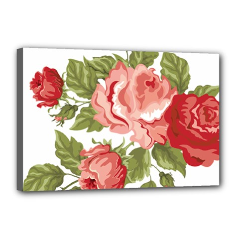 Flower Rose Pink Red Romantic Canvas 18  x 12