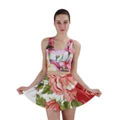 Flower Rose Pink Red Romantic Mini Skirt