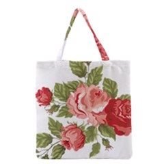 Flower Rose Pink Red Romantic Grocery Tote Bag