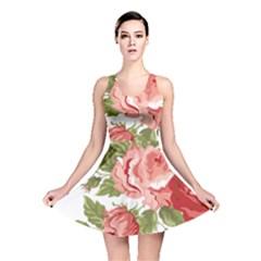 Flower Rose Pink Red Romantic Reversible Skater Dress