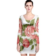 Flower Rose Pink Red Romantic Long Sleeve Bodycon Dress