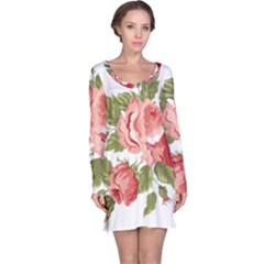 Flower Rose Pink Red Romantic Long Sleeve Nightdress