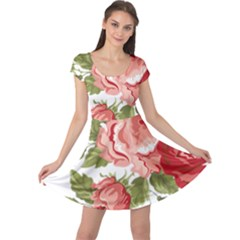Flower Rose Pink Red Romantic Cap Sleeve Dresses