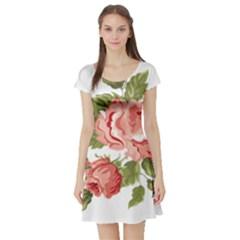 Flower Rose Pink Red Romantic Short Sleeve Skater Dress