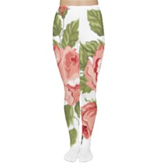 Flower Rose Pink Red Romantic Women s Tights