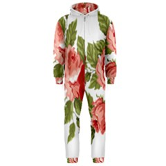 Flower Rose Pink Red Romantic Hooded Jumpsuit (men)