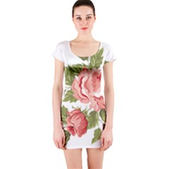 Flower Rose Pink Red Romantic Short Sleeve Bodycon Dress