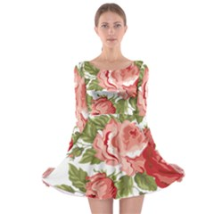 Flower Rose Pink Red Romantic Long Sleeve Skater Dress