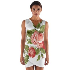 Flower Rose Pink Red Romantic Wrap Front Bodycon Dress