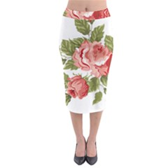 Flower Rose Pink Red Romantic Midi Pencil Skirt