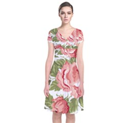 Flower Rose Pink Red Romantic Short Sleeve Front Wrap Dress