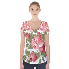 Flower Rose Pink Red Romantic Short Sleeve Front Detail Top
