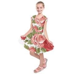 Flower Rose Pink Red Romantic Kids  Short Sleeve Dress