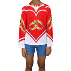 Heart Flowers Ring Kids  Long Sleeve Swimwear