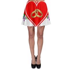 Heart Flowers Ring Skater Skirt