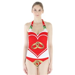 Heart Flowers Ring Halter Swimsuit