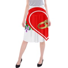 Heart Flowers Ring Midi Beach Skirt
