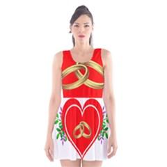 Heart Flowers Ring Scoop Neck Skater Dress