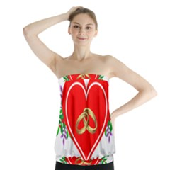 Heart Flowers Ring Strapless Top